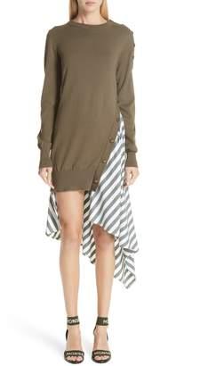 Monse Knit & Stripe Poplin Asymmetrical Dress