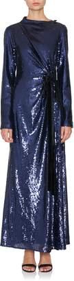 Prabal Gurung Open Back Draped Sequin Gown