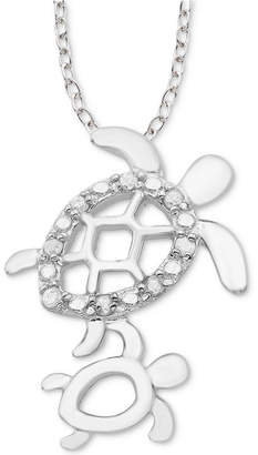 """Macy's Diamond Mother & Child Turtle 18"""" Pendant Necklace (1/10 ct. t.w.) in Sterling Silver"""