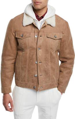 Brunello Cucinelli Men's Shearling Fur-Lined Leather Trucker Jacket