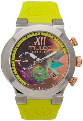 Mulco Watches Inc Gravity Galaxi Swiss Multifunctional Quartz Watch - Premium Analog Sundial With Green 100% Silicone Band- Rose Gold Accents- Water Resistant Stainless Steel -Women's Fashion