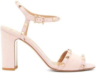 Valentino - Rockstud Block Heel Suede Sandals - Womens - Light Pink