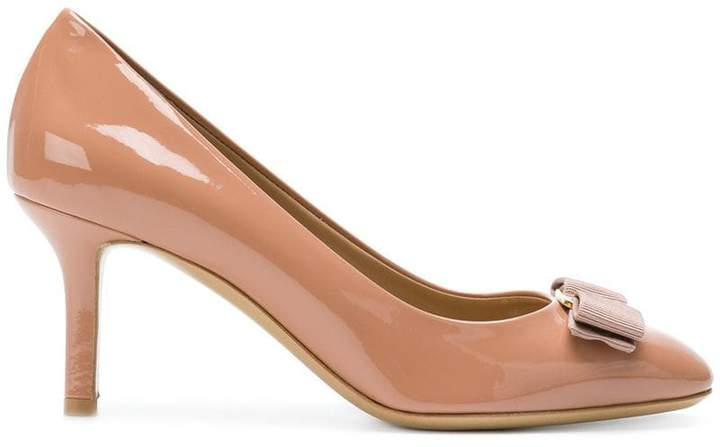 Salvatore Ferragamo bow front heeled pumps