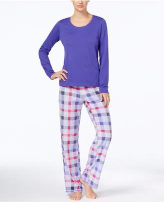 Jenni by Jennifer Moore Top & Printed Fleece Pants Pajama Set, Created for Macy's