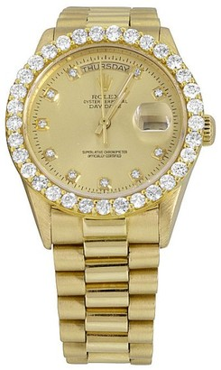 Rolex President Day-Date WTCH-27704 Diamond 18k Yellow Gold 38mm Watch 18K Mens Yellow Gold Rolex President Day-Date 36MM Champagne Diamond Watch 5.5Ct $13,799 thestylecure.com