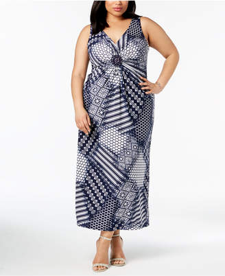 R & M Richards Plus Size Embellished Maxi Dress