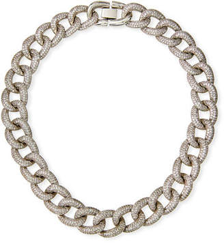 Fallon Armure Cubic Zirconia Pavé Curb Chain Collar Necklace, Extra Large