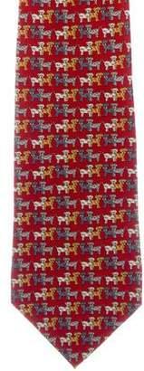 Salvatore Ferragamo Silk Dog Print Tie