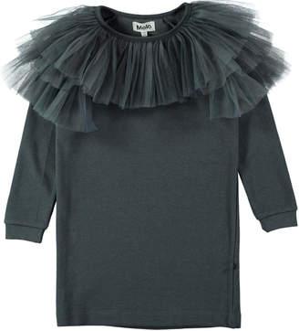 Molo Ciss Tulle-Trim Sweatshirt Dress, Size 3T-10