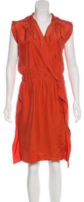 Fendi Silk Wrap Dress Orange Silk Wrap Dress