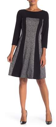 Connected Apparel Elbow Sleeve Crew Neck Dress