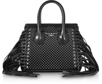 At Forzieri Balmain Black Studded Leather Mini 3d Fringes Satchel Bag