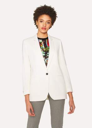 Paul Smith Women's Relaxed-Fit Cream Wool-Hopsack Blazer