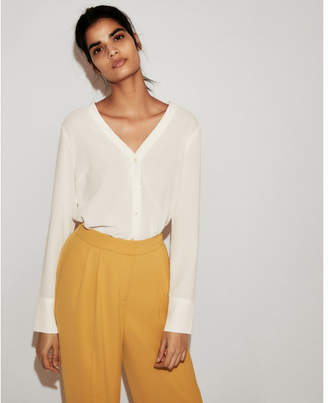 Express double v button front shirt