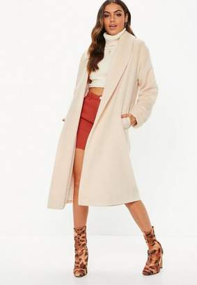 Missguided Cream Brushed Shawl Collar Midi Coat