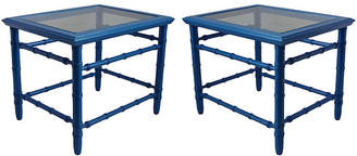 One Kings Lane Vintage Midcentury Blue Lacquered Tables - Set of 2 - Vintage Bella Home