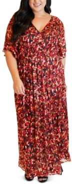 Maree Pour Toi Plus Size Printed Flutter-Sleeve Maxi Dress