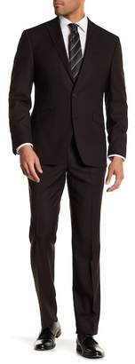Kenneth Cole Reaction Brown Pin Dot Two Button Notch Lapel Techni-Cole Performance Flex Fit Trim Fit Suit