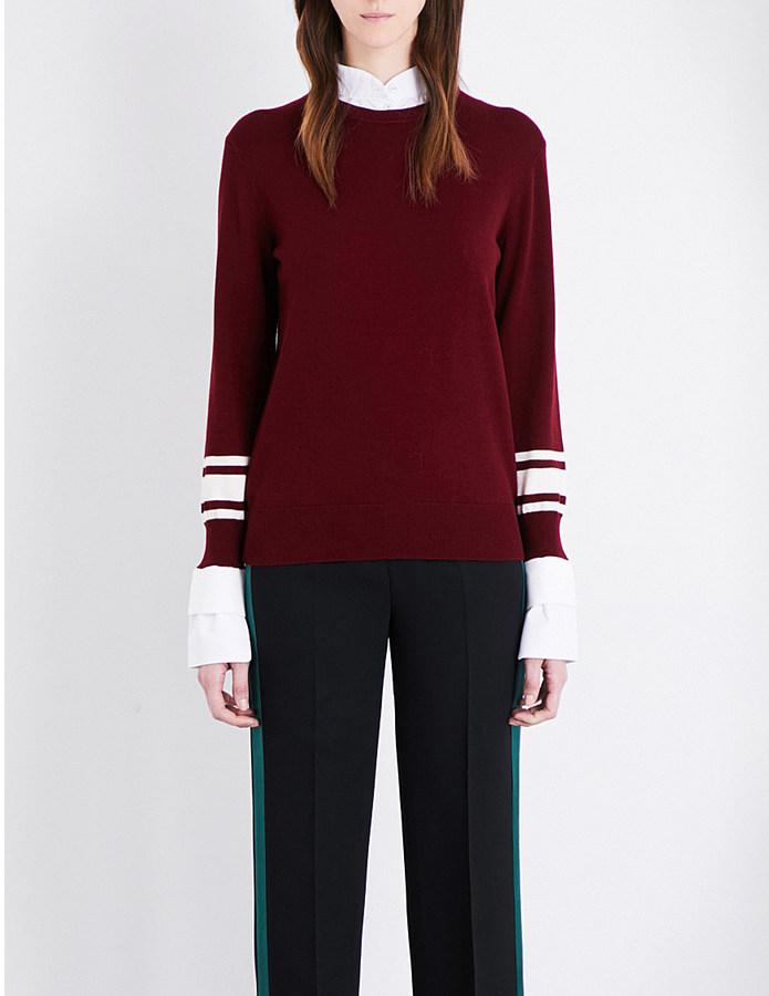 Victoria Victoria Beckham Contrast-cuff wool-blend jumper