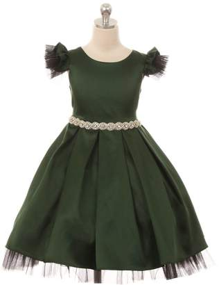Kids Dream Satin Tulle Sleeve Rhinestone Dress Green