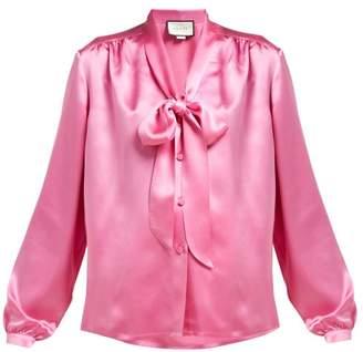 d394902c2b2f2b Gucci Tie Neck Silk Satin Blouse - Womens - Pink