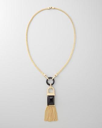 Rachel Zoe Tassel Pendant Necklace, Black Quartz