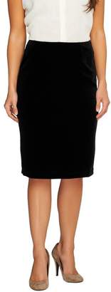 Susan Graver Stretch Velvet Pull-On Slim Skirt w/Elastic Waist