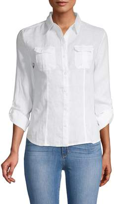 Saks Fifth Avenue Double Pocket Linen Blouse