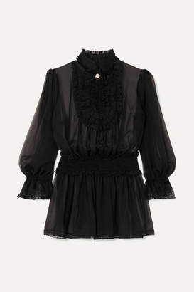 Dolce & Gabbana Ruffled Silk-blend Chiffon Blouse - Black