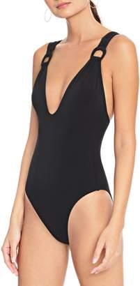 Robin Piccone Plunge Neckline One-Piece Swimsuit