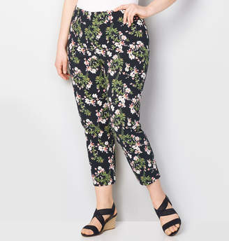 Avenue Navy Floral Super Stretch Pull-On Ankle Pant