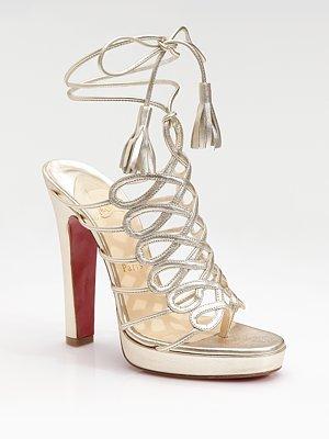 Salsbourg Metallic Leather Strappy Sandals