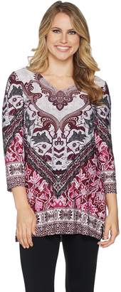 Women With Control Attitudes by Renee Placement Print V-Neck Tunic w/ Side Slits