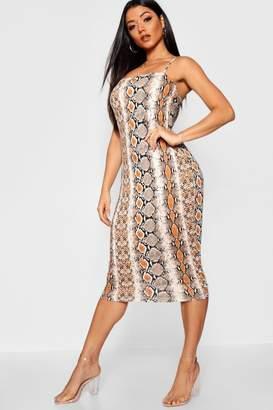boohoo Snake Print Midi Spaghetti Strap Dress