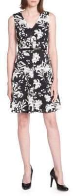 Tommy Hilfiger Iris Print Scuba Crepe Fit-and-Flare Dress