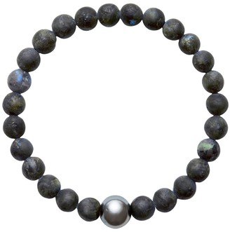 A+ro Ora Pearls ARO Men's Tahitian Pearl & Larvikite Bracelet - Large