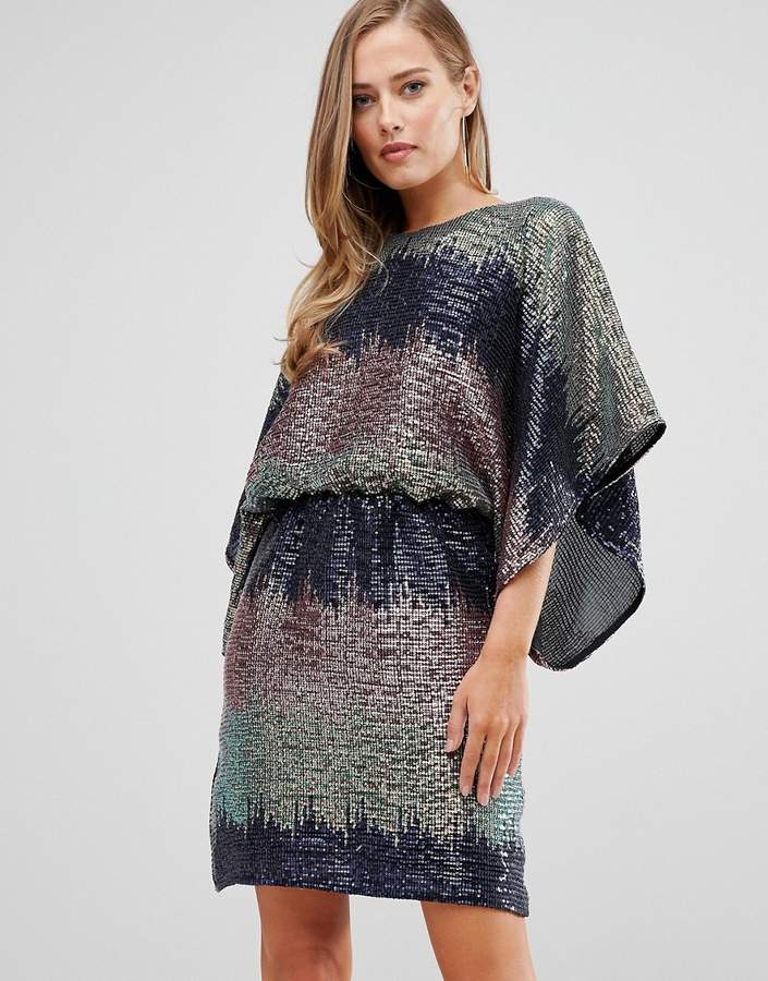 Flounce London sequin batwing mini dress in ombre sequin