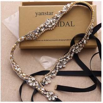 Yanstar Silver Crystal Wedding Bridal Belt With Blush Sashes For Wedding Bridesmaid Dress