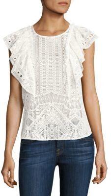 BCBGMAXAZRIA Nishka Ruffled Lace Top $178 thestylecure.com