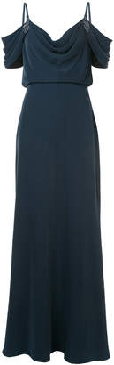 Tadashi Shoji cowl neck cut-out shoulder evening dress