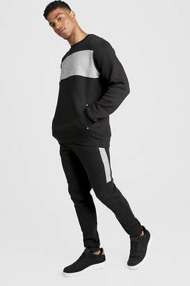 boohoo Skinny Fit Contrast Chest Panel Tracksuit