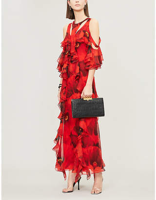 Alexander McQueen Poppy-print silk maxi dress