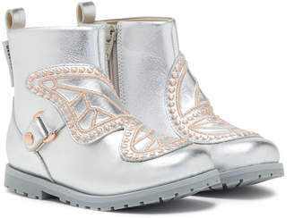 Sophia Webster Karina Embroidered-Butterfly Metallic Leather Boots, Toddler/Kid