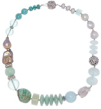 Stephen Dweck Sterling Silver Champagne Pearl & Mixed Stone Long Strand Necklace