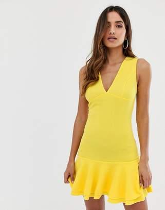AX Paris bodycon peplum dress in yellow
