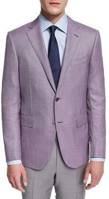 Ermenegildo Zegna Micro-Check Two-Button Jacket, Pink $2,295 thestylecure.com