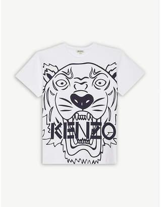 Kenzo Large tiger print cotton T-shirt 4-16 years