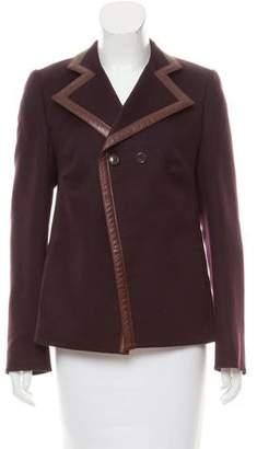 Akris Leather-Trimmed Cashmere Jacket