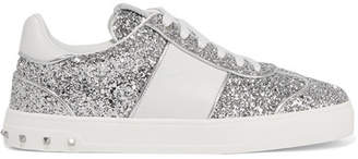 Valentino Garavani Fly Crew Studded Glittered Leather Sneakers - Silver