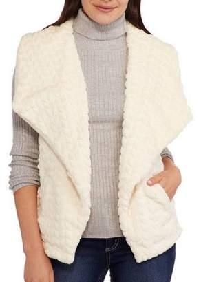 Maxwell Studio Women's Textured Chevron Faux Fur Vest